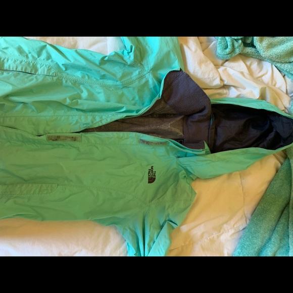 Light blue/mint Northface rain jacket
